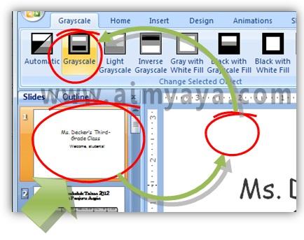 Gambar:  cara membuat tampilan background slide menjadi hitam putih/grayscale di powerpoint