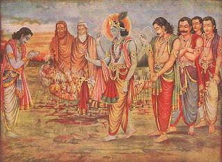 Krishna meets bhishm with Pandavas