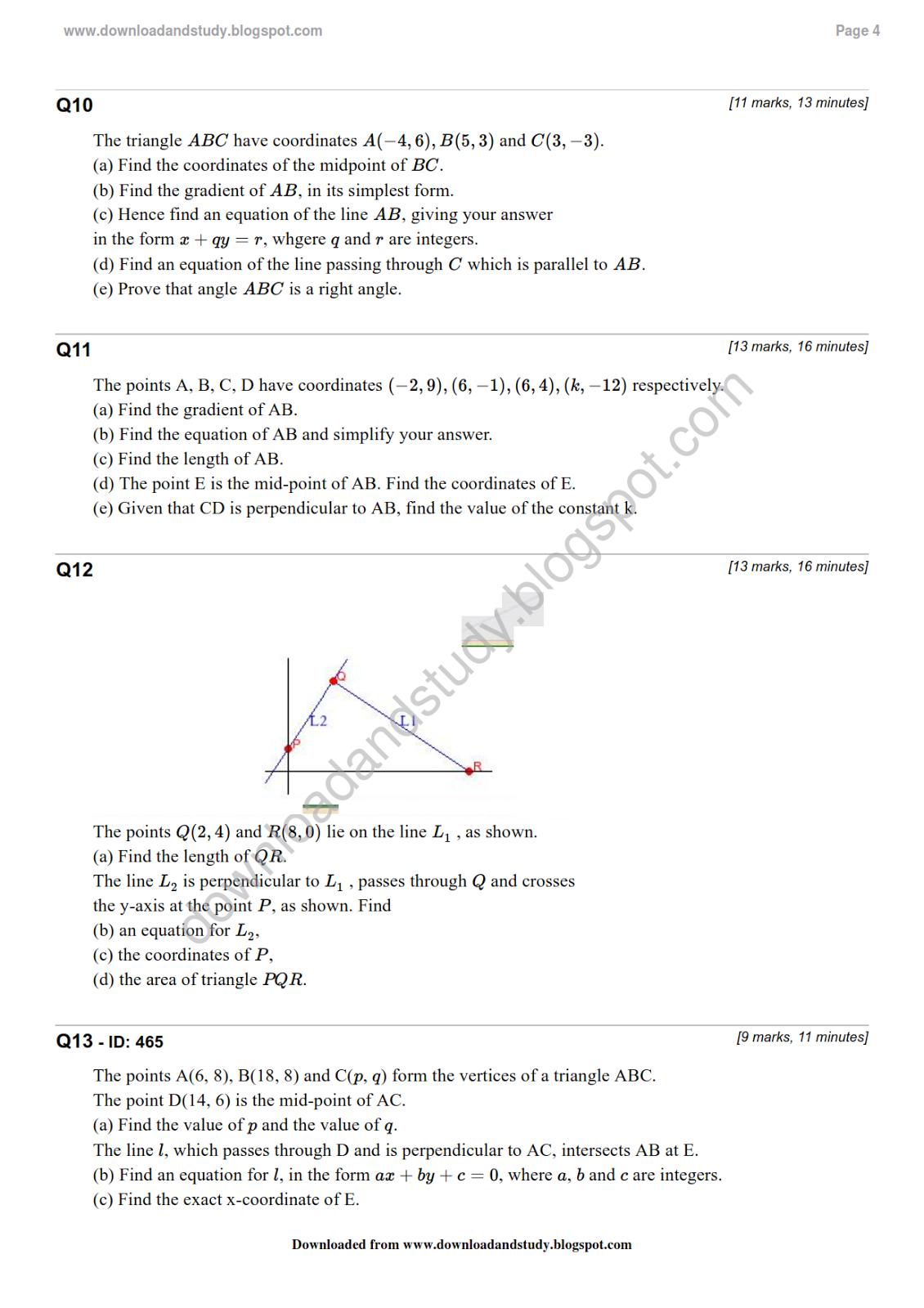 Coordinate geometry worksheets grade 6