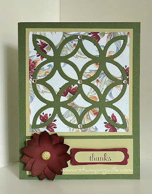Layered 5-Petal Flower Lattice Thanks Card