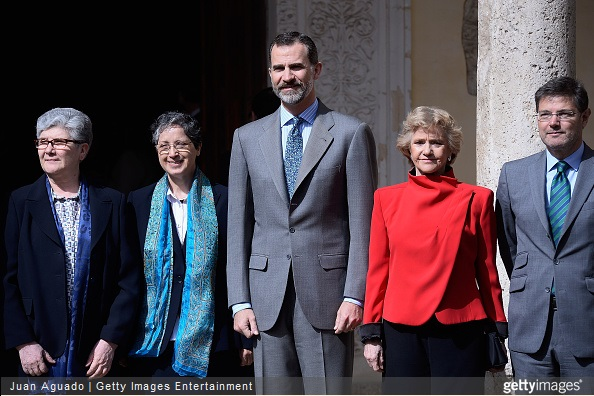 Adoratriz sister Teresa Valenzuela, King Felipe VI of Spain and People Defender Soledad Becerril attend the 6th King of Spain Human Rights Award to Adoratrices Esclavas del Santisimo Sacramento y de la Caridad at the Alcala de Henares University