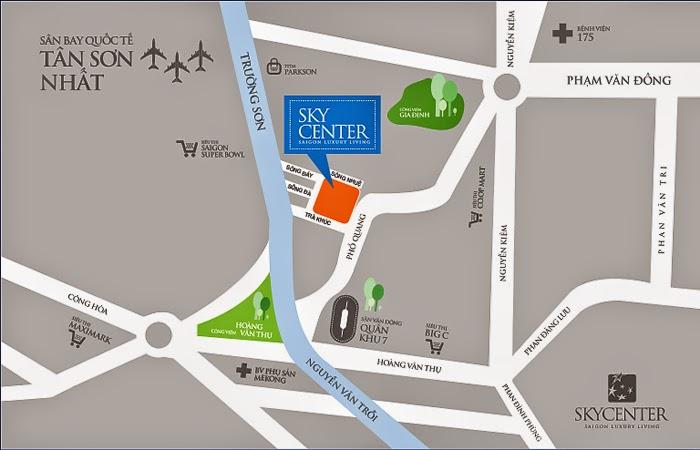 Vị trí căn hộ Sky center