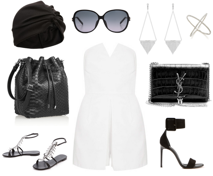summer day-to-night outfit topshop white playsuit turban hat bucket bag saint laurent shoulder bag