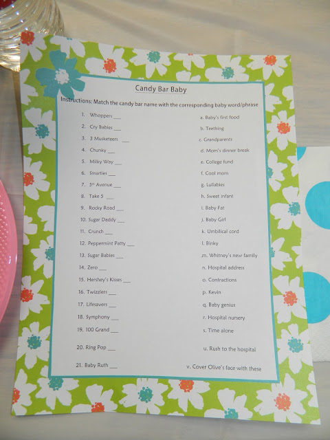 candy bar baby game match the list of candy bars to the baby related