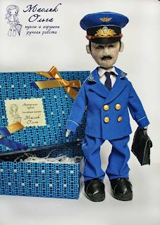 авторская текстильная тыквоголовая кукла Прокурор