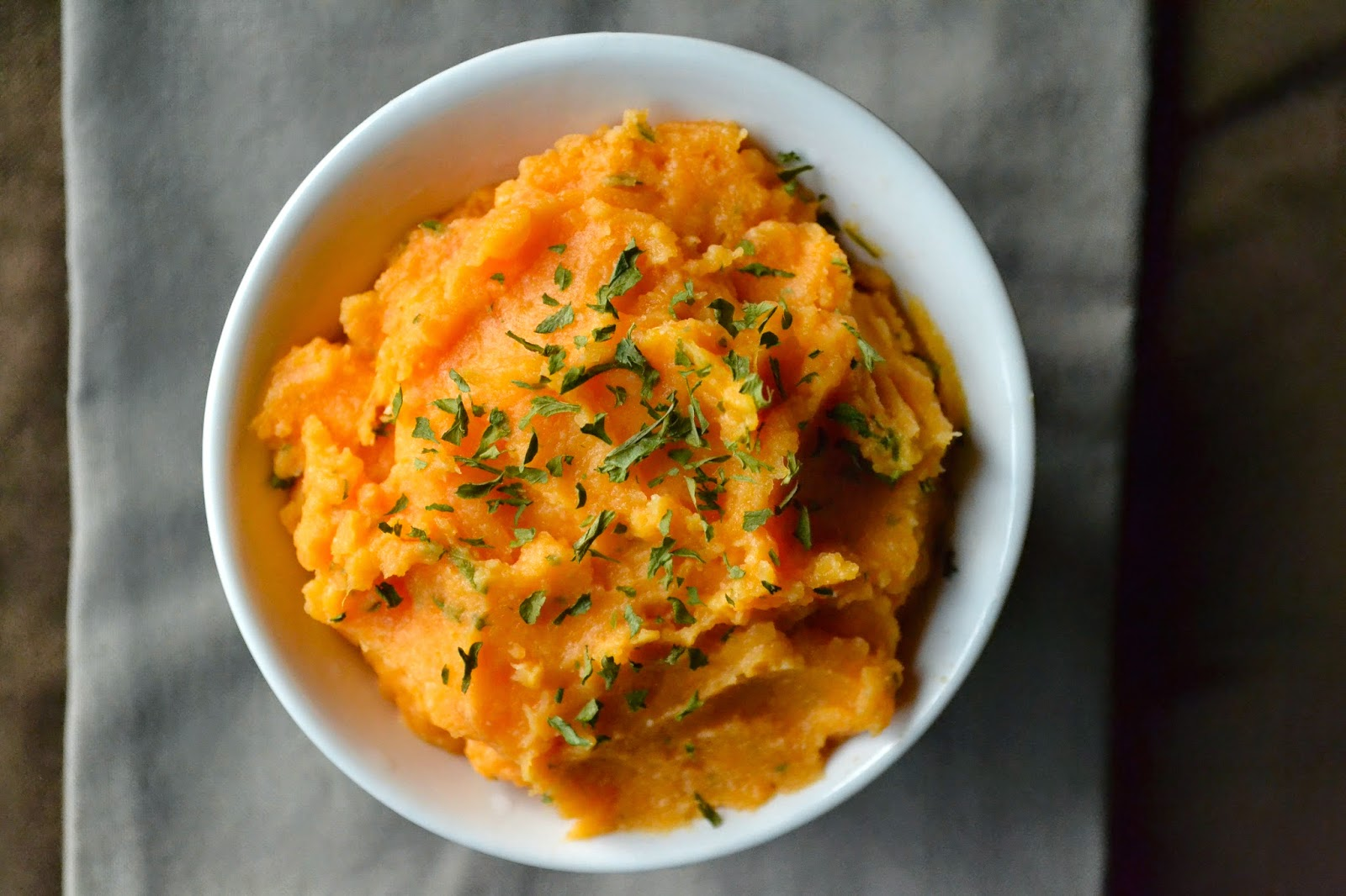 Mashed Sweet Potatoes with Garlic and Parsley