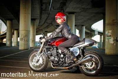 Cafe Racer Triumph Girl And Motorcycle Hd Wallpaper