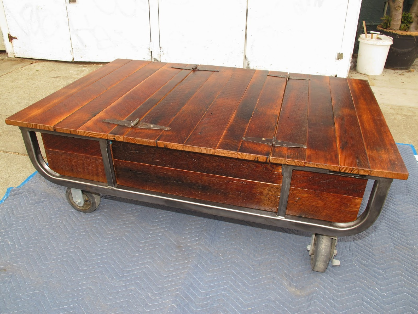 This Coffee Table Made From Rough Sawn Doug Fir, Two Lids Open To Storage  Inside