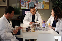 sandra oh, jesse williams and justin chambers in grey's anatomy