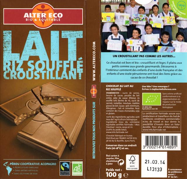 tablette de chocolat lait gourmand alter eco pérou lait riz soufflé croustillant