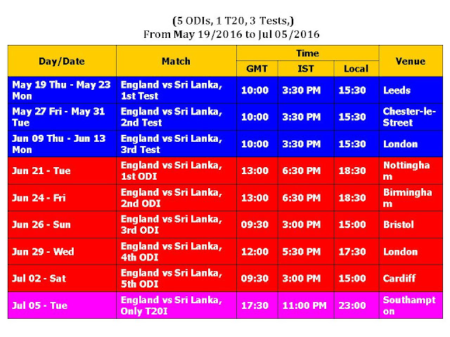 England vs Sri Lanka 2016 Schedule,Sri Lanka tour of England 2016 full schedule & time table,eng vs. sri lanka 2016 (5ODI 1t20 3tests),sri lanka vs. england 2016 schedule,schedule,time table,venue,cricket calendar 2016,cricket,one day,t20 world cup,test matches,match details,sri vs. eng 2016,Sri lanka vs england 2016 Schedule,ICC schedule,GMT,IST,local time,ground,fixture,From May 19 2016 to Jul 05 2016