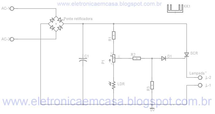 Circuito para iluminação automatica com SCR