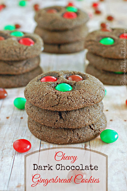 Chewy Dark Chocolate Gingerbread Cookies by The Sweet Chick