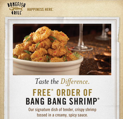 photo relating to Bonefish Grill Printable Coupon known as Bonefish Grill: Totally free Bang Bang Shrimp with $15 Acquire Coupon