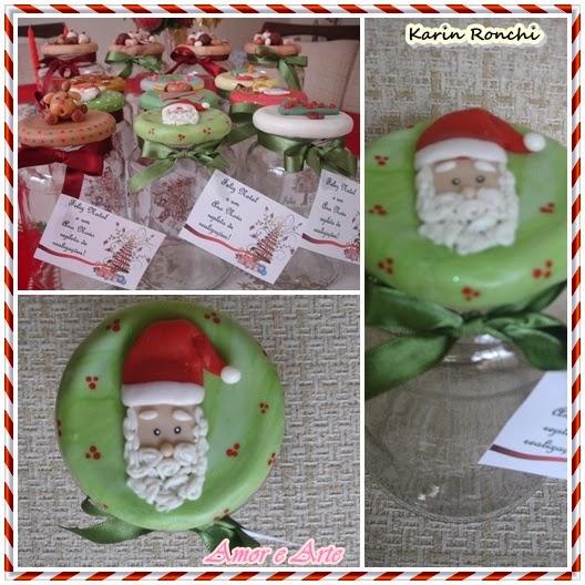Vidros decorados para Natal - Papai Noel - biscuit