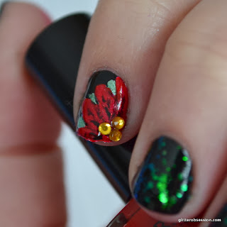 christmas nail art, nail art, poinsettia nail art, poinsetta nail art, finger paints flecked, sally hansen black heart, barielle dinner at 8, barielle big apple red
