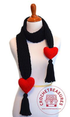Free Crochet Pattern, Free Crochet Scarf Patterns, Valentines Scarf,