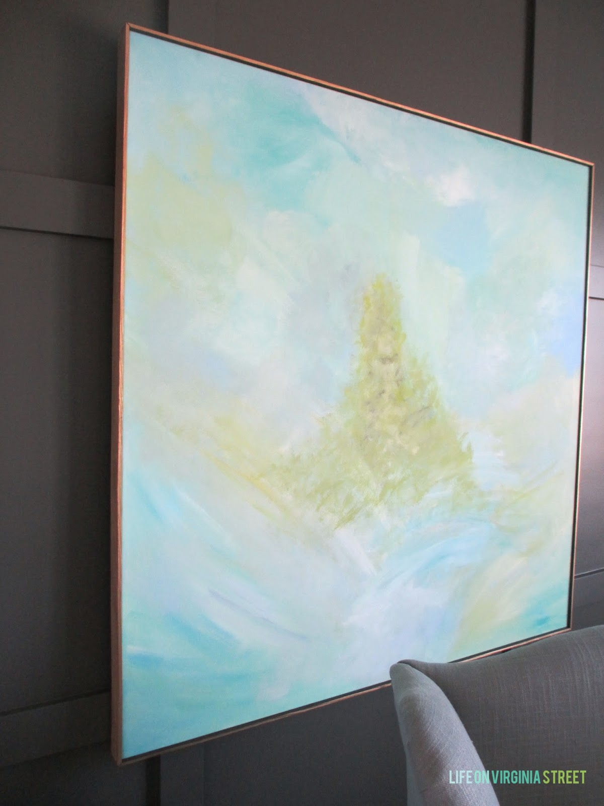 DIY abstract artwork. What a great way to get a custom piece of art really affordably!