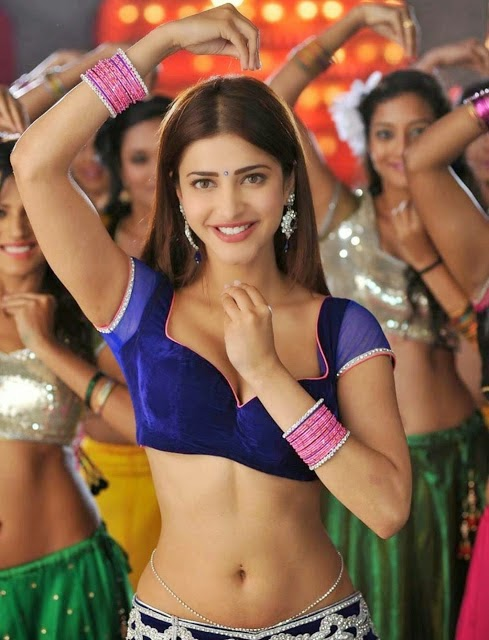 Shruti Hassan Hot Cleavage and Navel Show