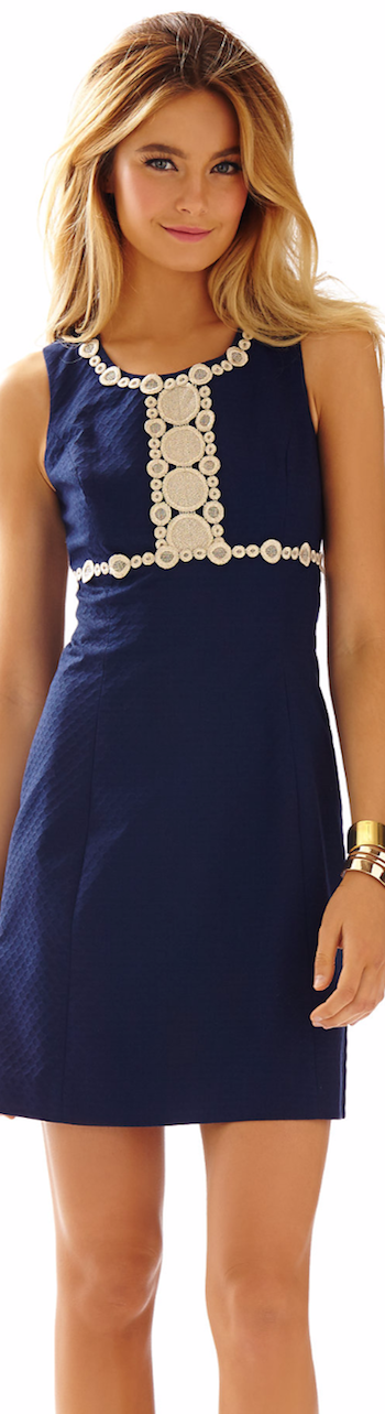 LILLY PULITZER ROSIE LACE DETAIL SHIFT DRESS NAVY