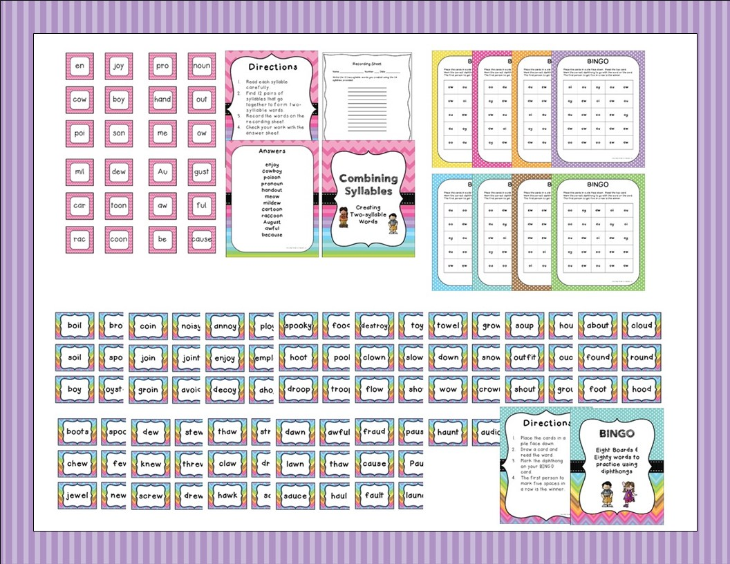 http://www.teacherspayteachers.com/Product/Syllable-Centers-Diphthong-Vowel-Teams-1331726