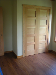 Engineered reclaimed pin wide board floor douglas fir doors and trim