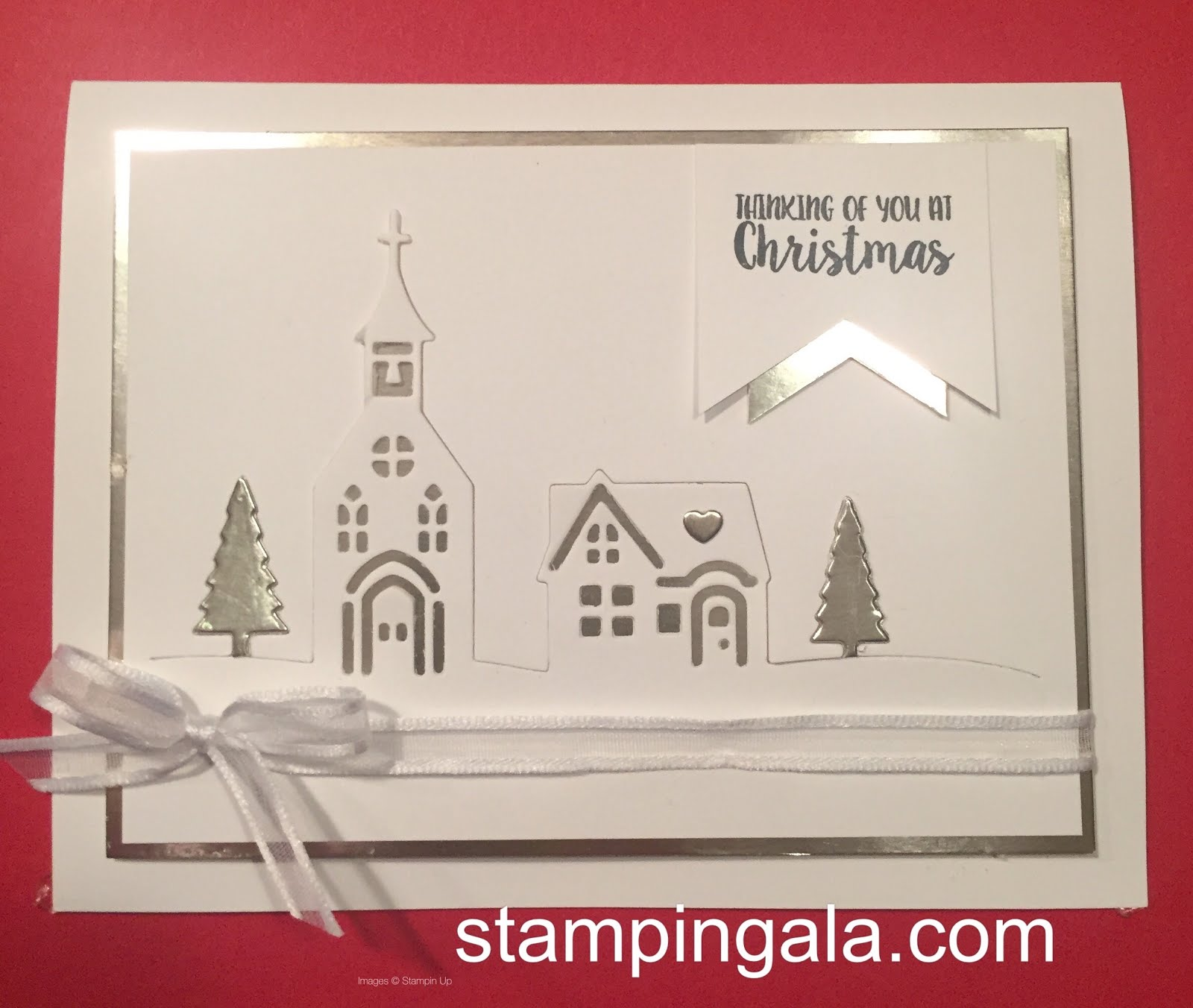 Stampin gala hearts come home to a season like christmas this picture truly doesnt do this card justice it is simply beautiful if i must say so myself i used the hometown greetings edgelits dies to die m4hsunfo