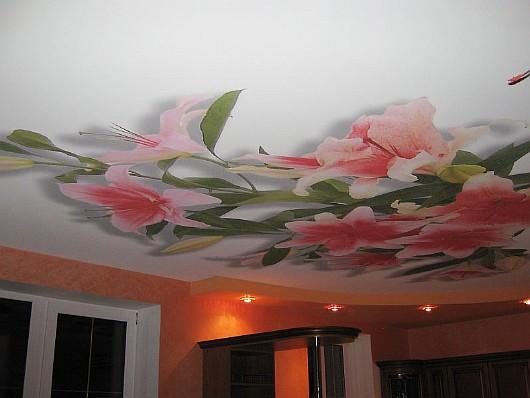 Фотопечать цветы натяжные потолки
