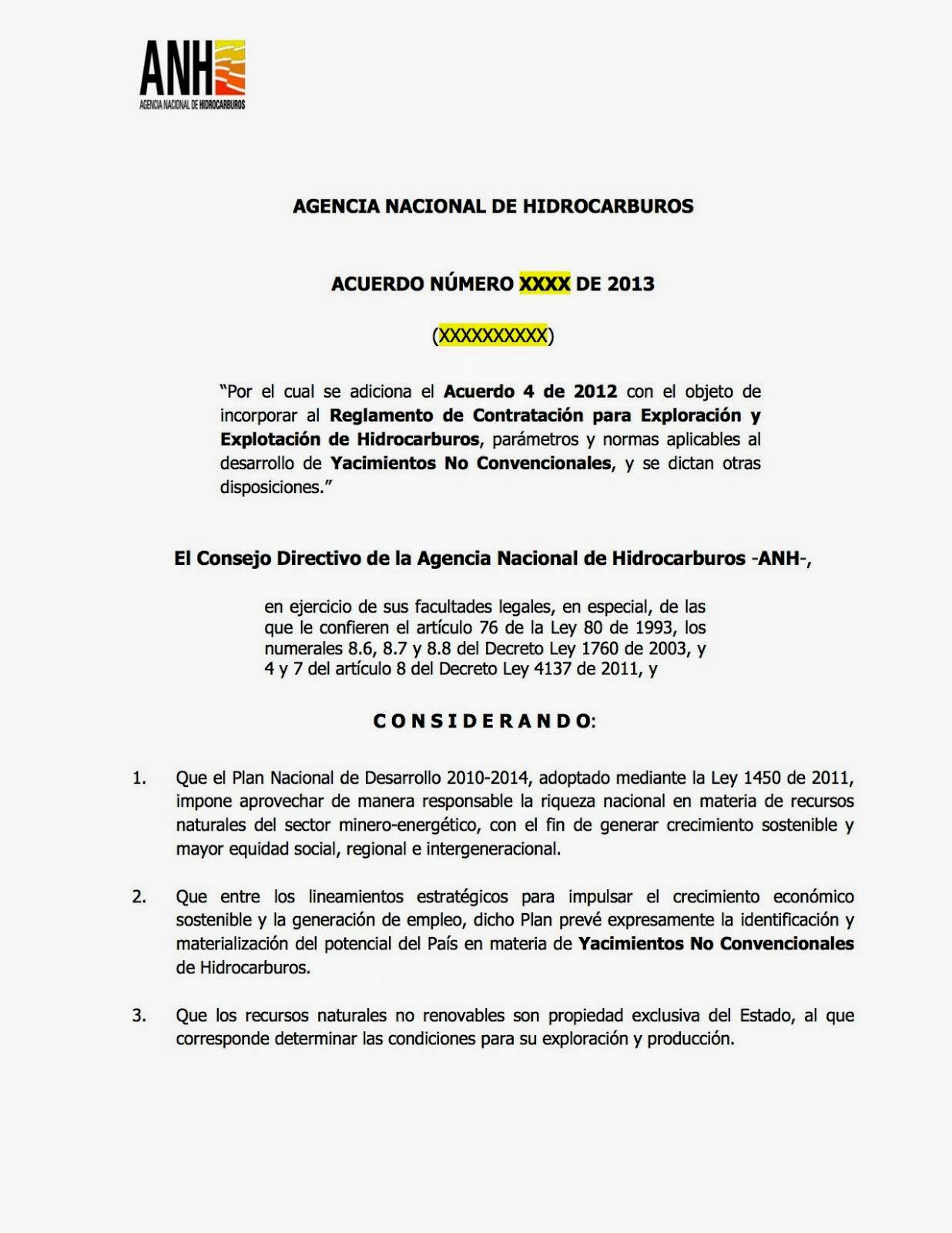 Proyecto Reglamento Explotación Yacimientos No Convencionales