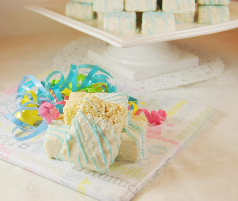 my playground baby shower white chocolate dipped rice krispie treats