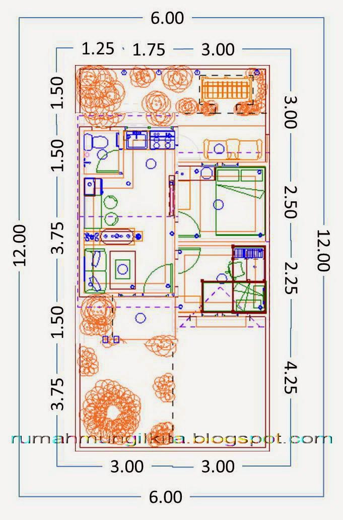 Desain Rumah Tipe 30 Tanah 72 (1 Lantai, 2 Kamar Tidur, 1 Kamar Mandi)
