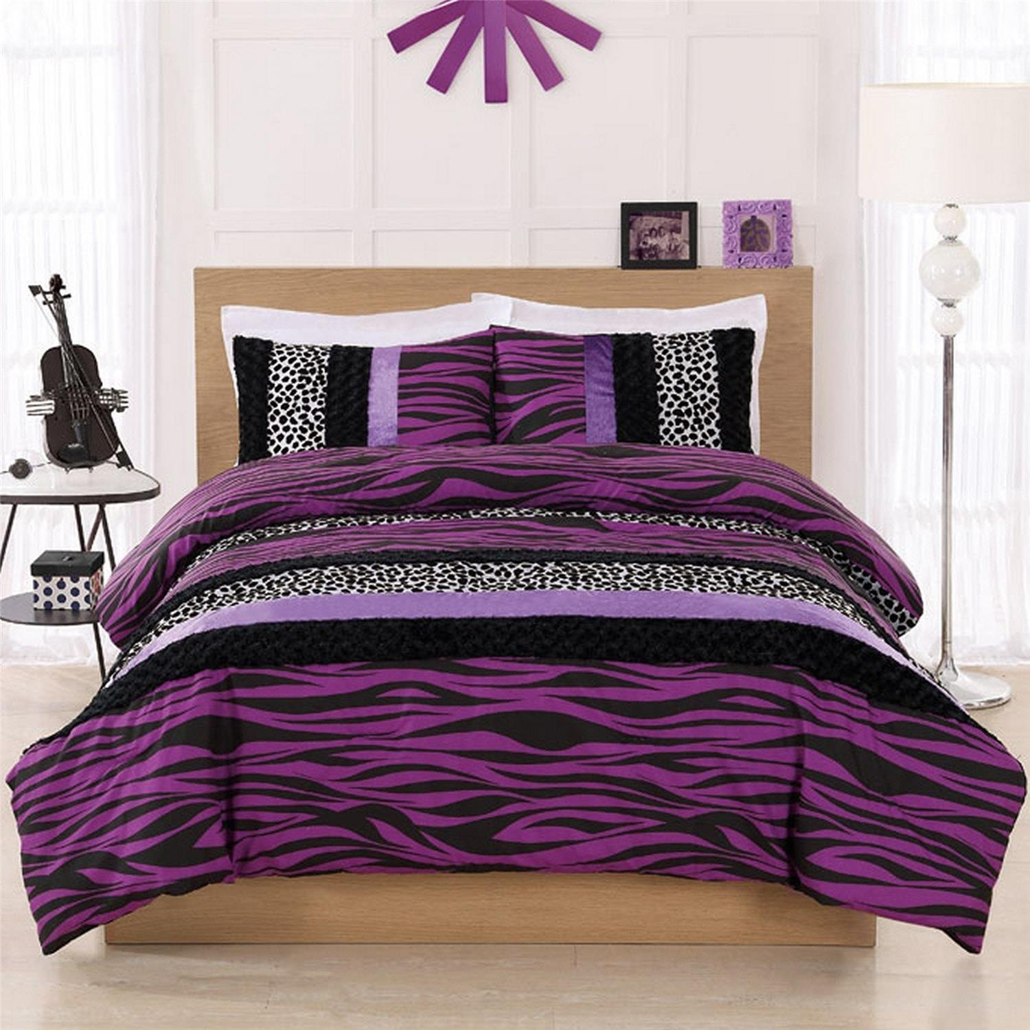 Total fab purple zebra cheetah and leopard print Zebra print bedding