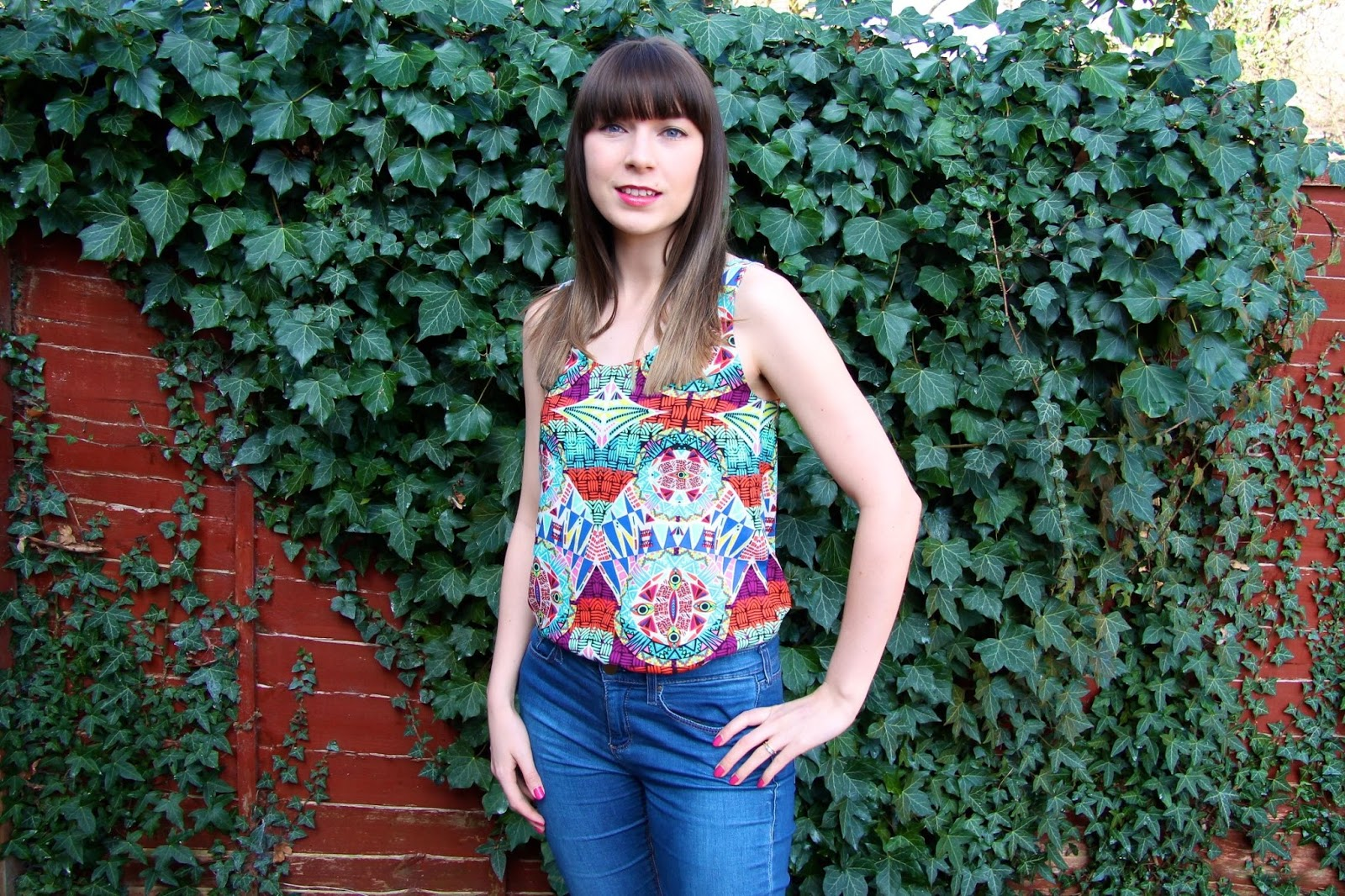 aztec pattern silk cami top
