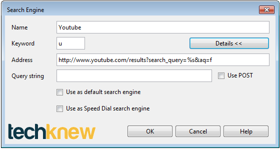 Opera Search Settings