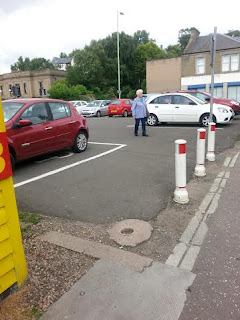 Missing Bollard in Queen Street Car Park Broughty Ferry August 2015