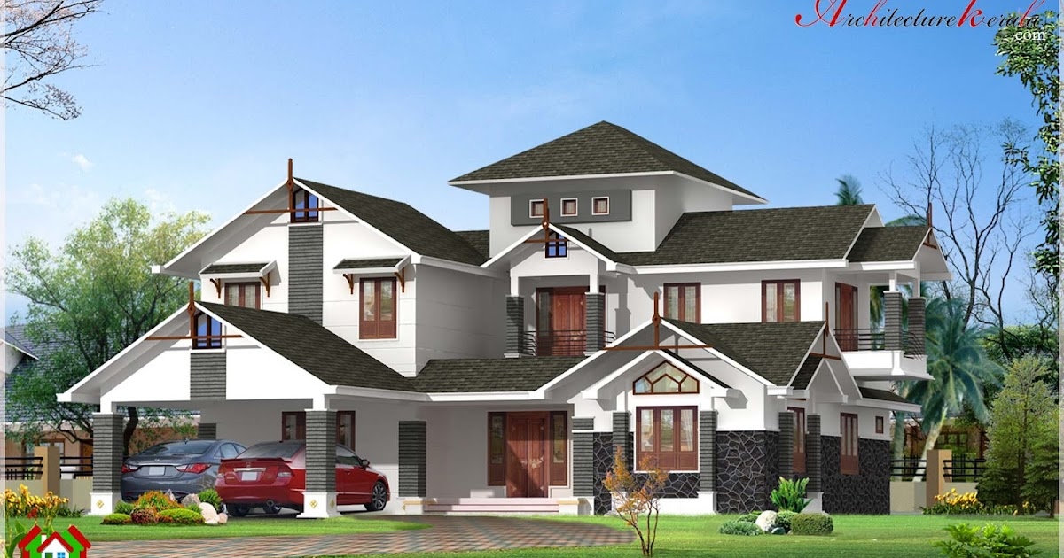 Beautiful slope roof house elevation in 3000 square feet for Cost to build 2500 sq ft house