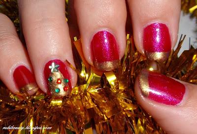 rubibeauty christmas nail art manicura navidad francesa french gold manicure diseño uñas facil