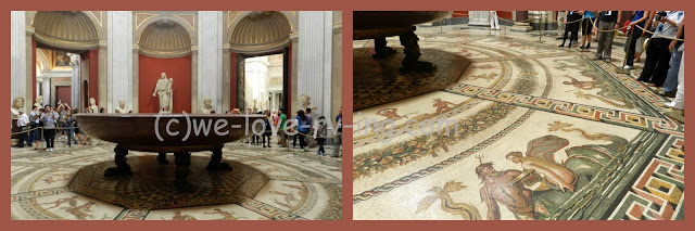 The floor of the round room is covered by mosaics
