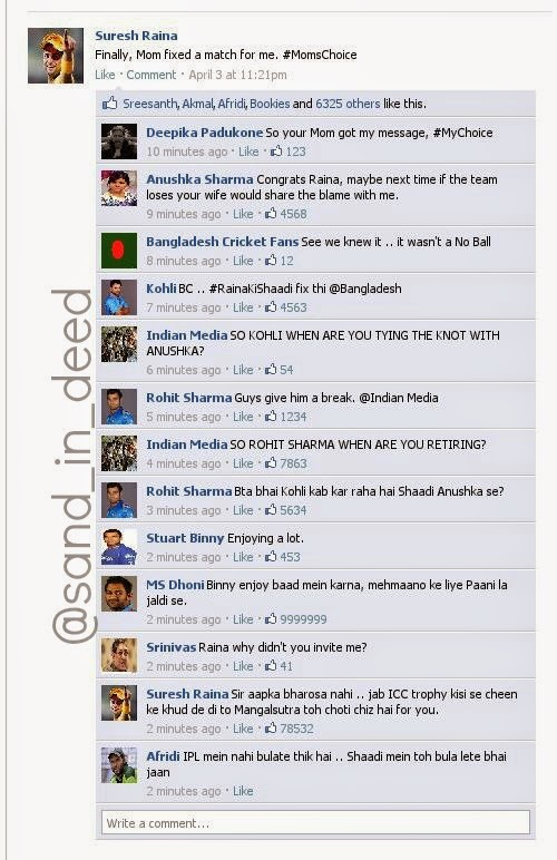 Raina Wedding Shaadi Funny Twitter Facebook