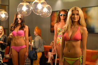 Blonde Brunette Redhead Model Neon Bikinis