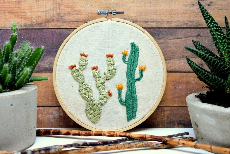 DIY embroidery cactus hoop