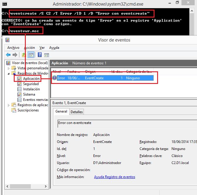 Windows: Crear eventos con eventcreate