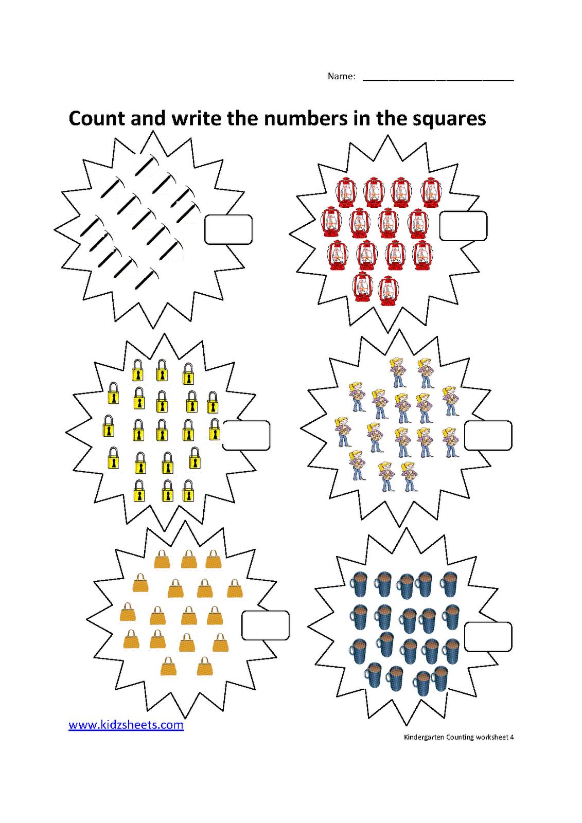 math worksheet : kidz worksheets kindergarten counting worksheet4 : Counting Worksheets For Kindergarten