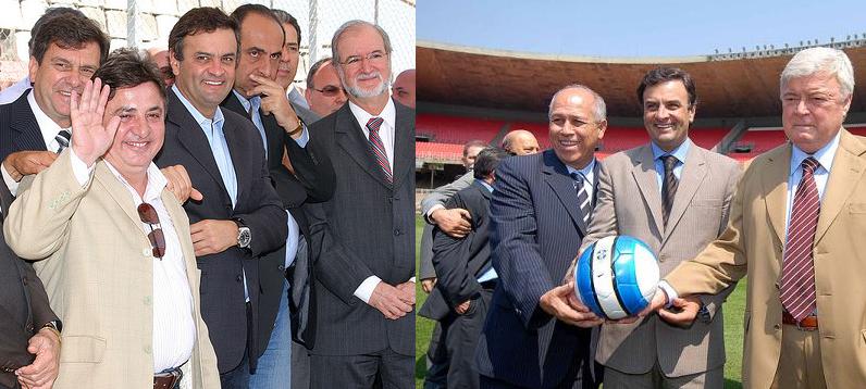 Foto à esquerda: Aécio em evento esportivo com Eduardo Azeredo (do mensalão mineiro), e do senador aliado Zezé Perrella (do helicóptero). Foto à direita com o ex-cartola Ricardo Teixeira.