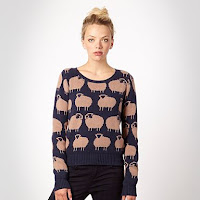 Dark blue knitted sheep jumper - H! by Henry Holland
