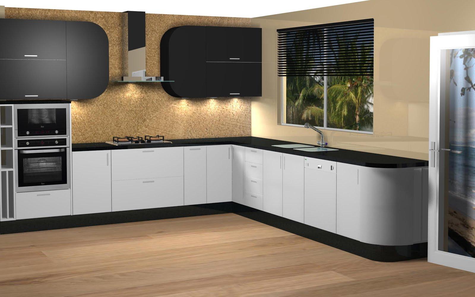 Vista de cocina lacada en blanco y negro