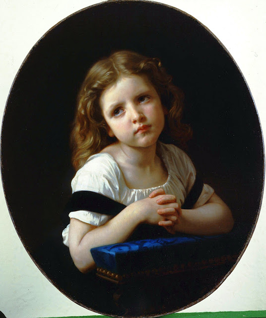 prayer,cute girl,genre painting
