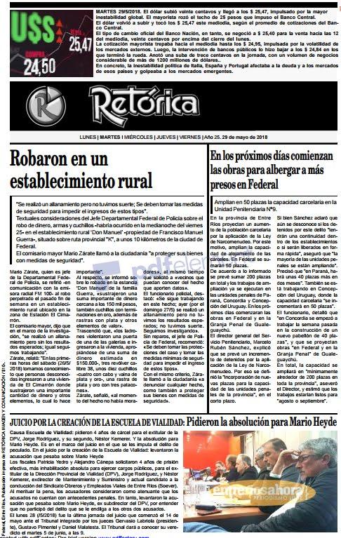 RETÓRICA tapa edición impresa 29-5-2018