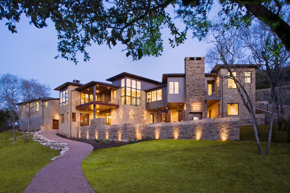 Modern cabinet westlake drive contemporary luxury in for Modern stone houses architecture
