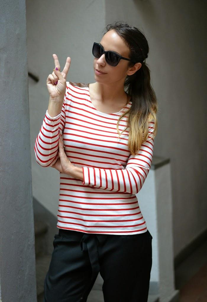 maglietta righe bianco rosso
